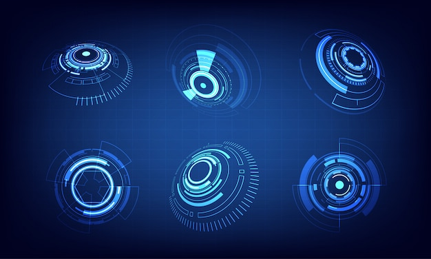 Pictogrammenset technologie cirkel ontwerp Premium Vector