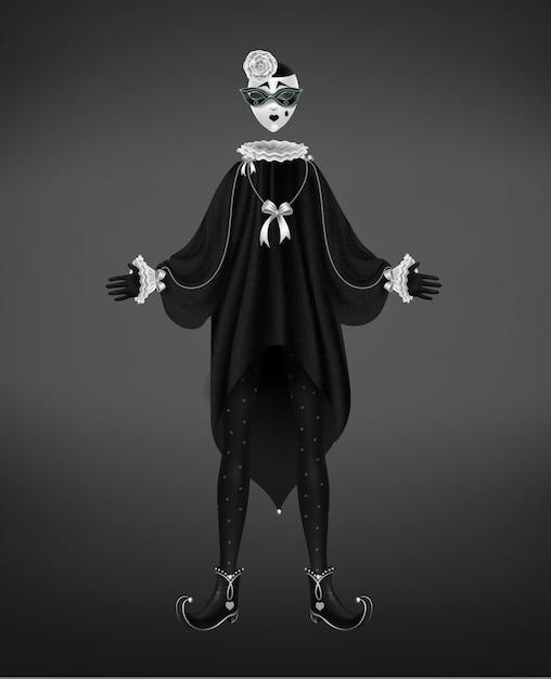 Pierrotkostuum, italiaans komedie del arte karakter dat op zwarte achtergrond wordt geïsoleerd. Gratis Vector