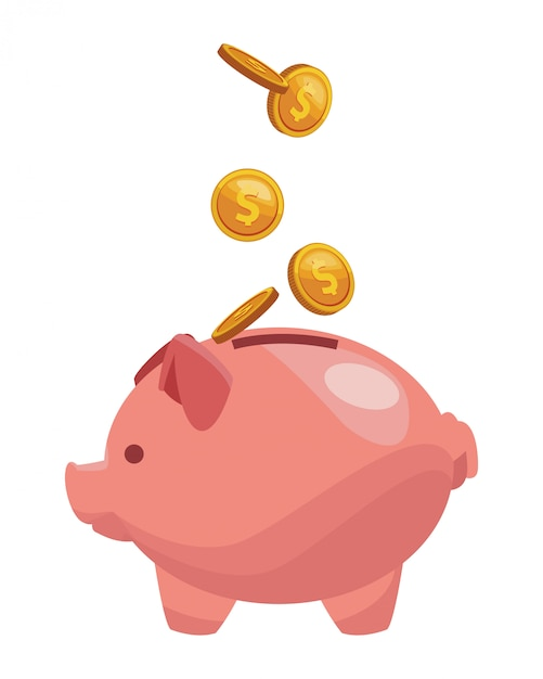 Piggy bank pictogram Premium Vector