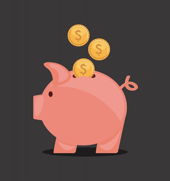 Piggy ontwerp over zwarte achtergrond vectorillustratie Premium Vector