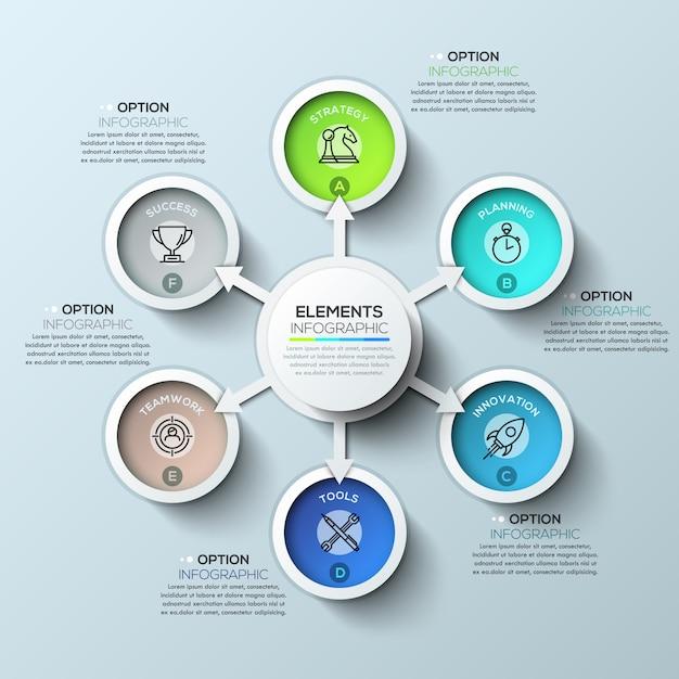 Pijl cirkel infographics sjabloon met zes opties Premium Vector