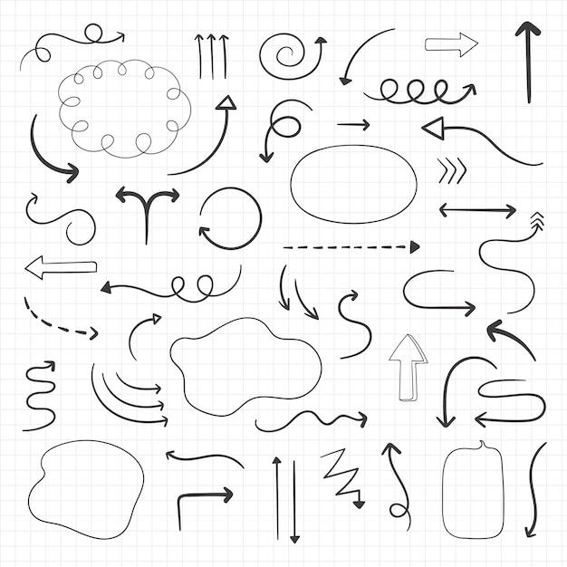 Pijl doodles instellen Gratis Vector