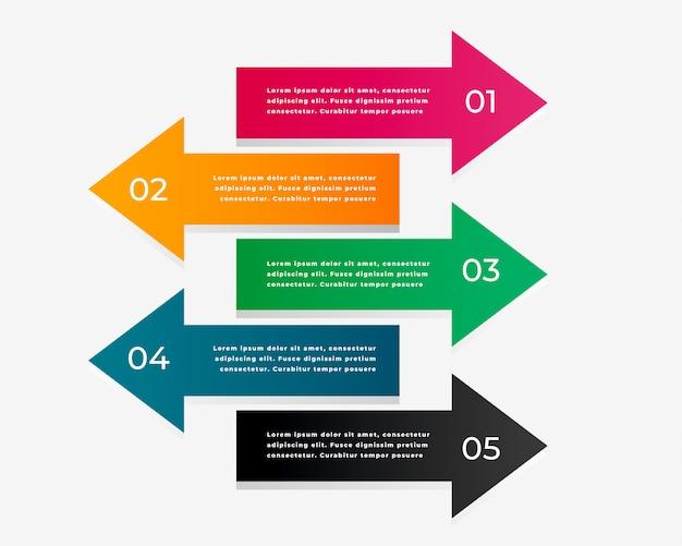 Pijl infographic met vijf stappen Gratis Vector