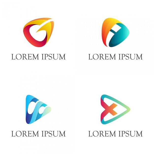 Pijl / speel logo combinatie met initiaal Premium Vector