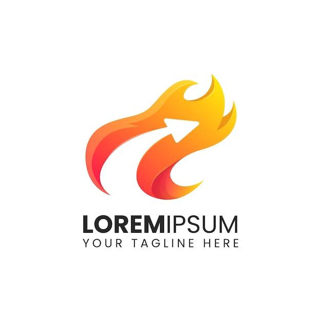 Pijl vlam brand snel logistiek logo abstract ontwerp vector Premium Vector