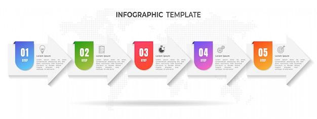 Pijlen tijdlijn 5 stap infographic. Premium Vector