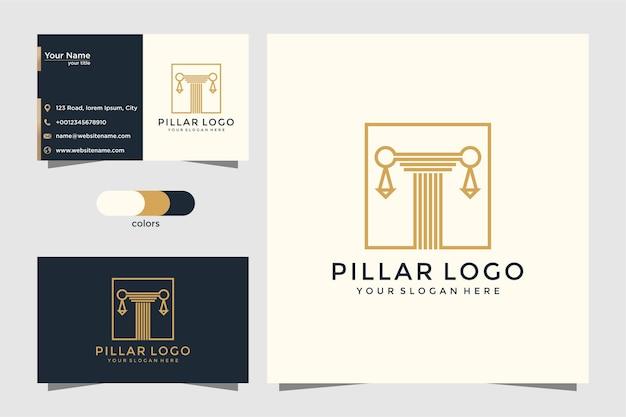 Pijlers logo pictogram ontwerpt inspiratie. logo ontwerp en visitekaartje Premium Vector
