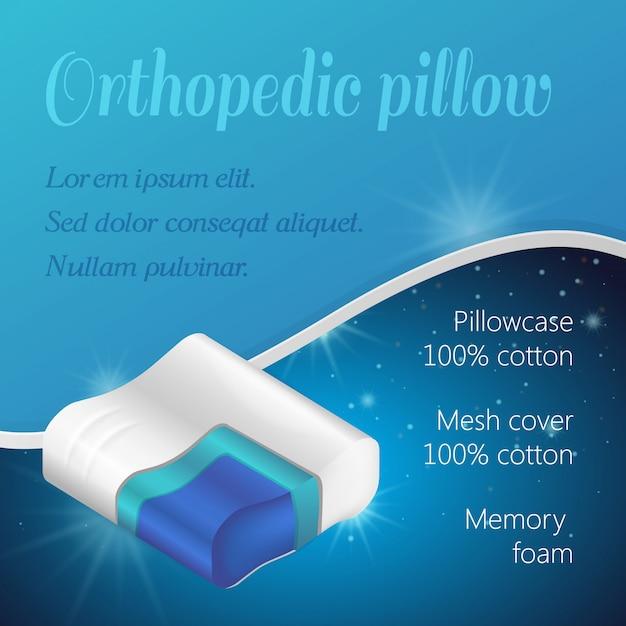 Pillow in cut. katoen oppervlak. orthopedisch hoofdkussen. tekstsjabloon. reclame afbeelding. traagschuim. anatomische vorm. vector illustratie. textile kussensloop. Premium Vector