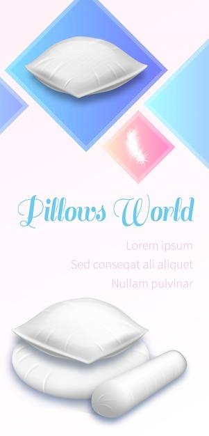 Pillows world banner, stapel witte zachte kussens Premium Vector
