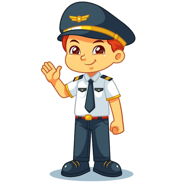 Piloot jongen vriendelijk gastvrij pose. Premium Vector