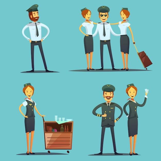 Piloten en stewardess stripfiguren Gratis Vector