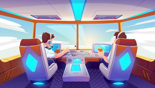 Piloten in vliegtuigcockpit, jet met bedieningspaneel Gratis Vector