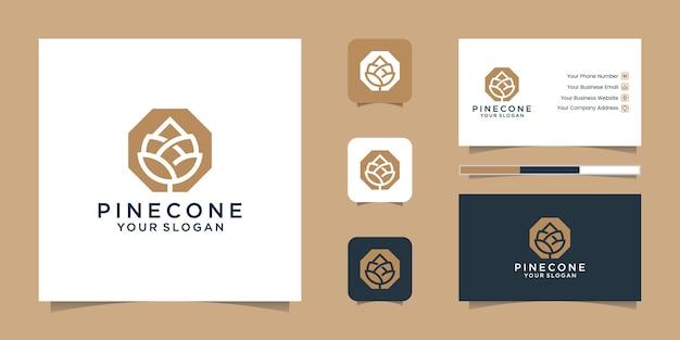 Pine cone logo lijntekeningen en visitekaartje Premium Vector