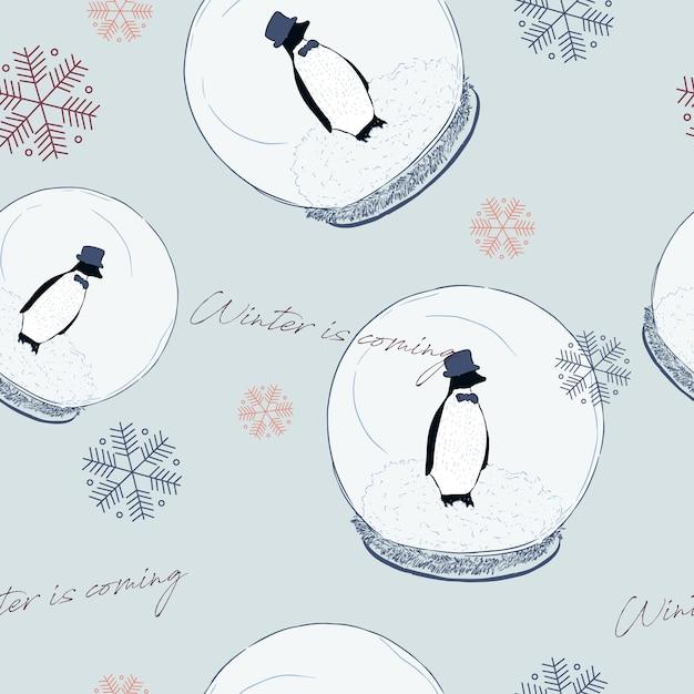 Pinguin in bal, winter concept. naadloze patroon vector. Premium Vector