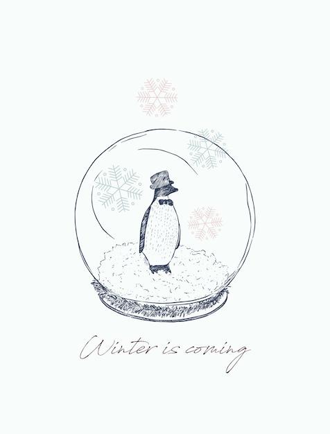 Pinguin in bal, winter concept. Premium Vector