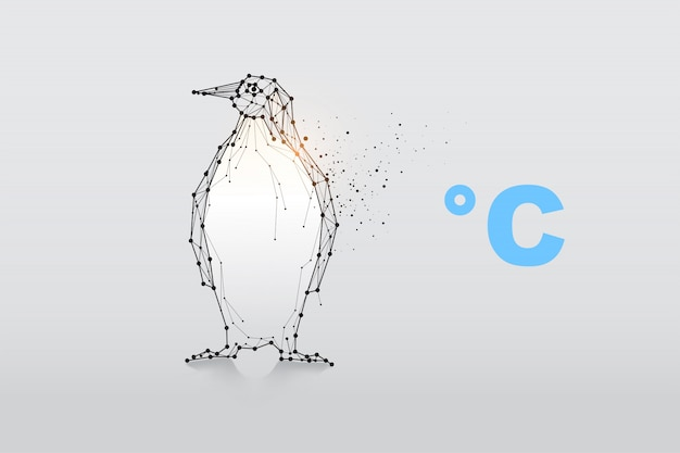 Pinguïn van deeltjes, geometrische kunst, lijn en punt. Premium Vector