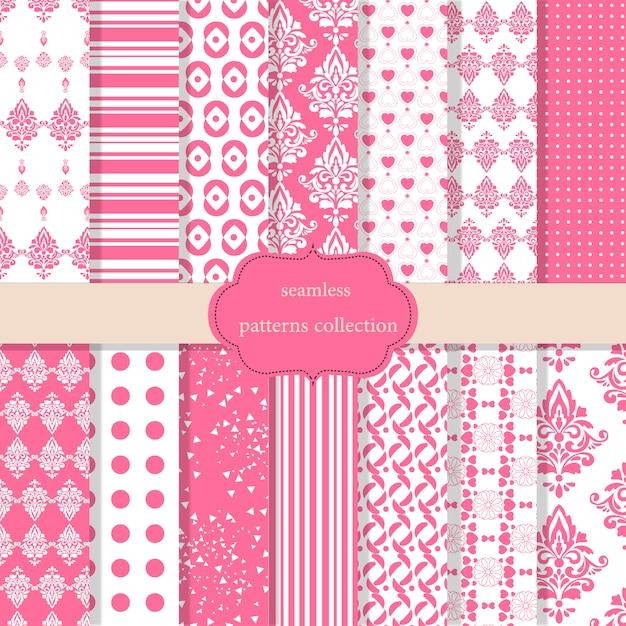 Pink patroneninzameling Gratis Vector