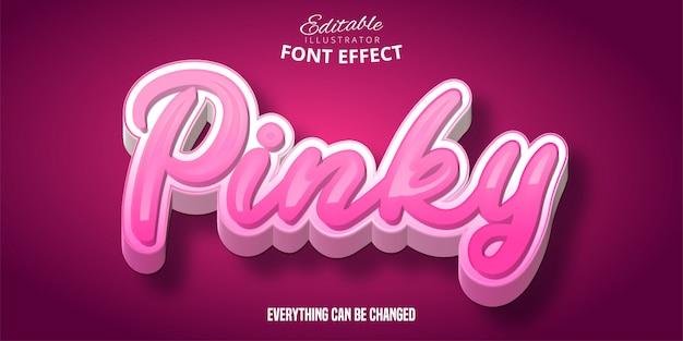 Pinky tekst, 3d bewerkbaar lettertype-effect Premium Vector