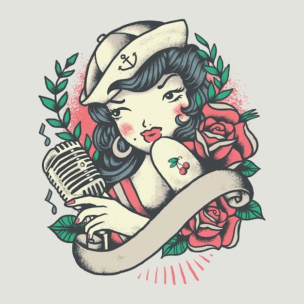 Pinup girl vintage tattoo illustratie Premium Vector