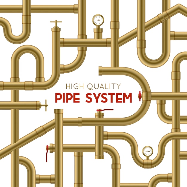 Pipe system achtergrond Gratis Vector