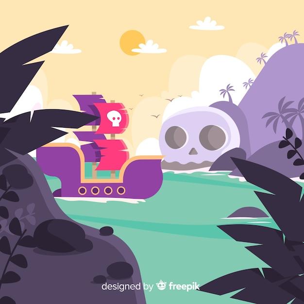 Piraat achtergrond Gratis Vector