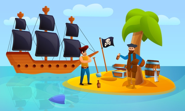 Piraat eiland concept, cartoon stijl Premium Vector
