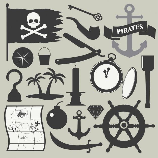 Piraat element set Gratis Vector
