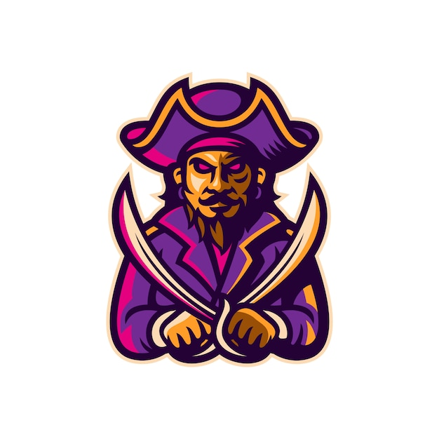 Piraat mascotte esport logo sjabloon vectorillustratie Premium Vector