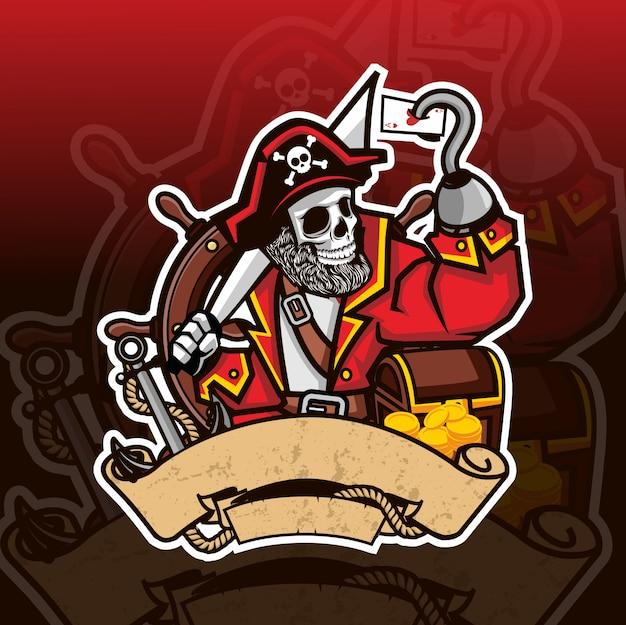 Piraat schedel mascotte esport logo Premium Vector