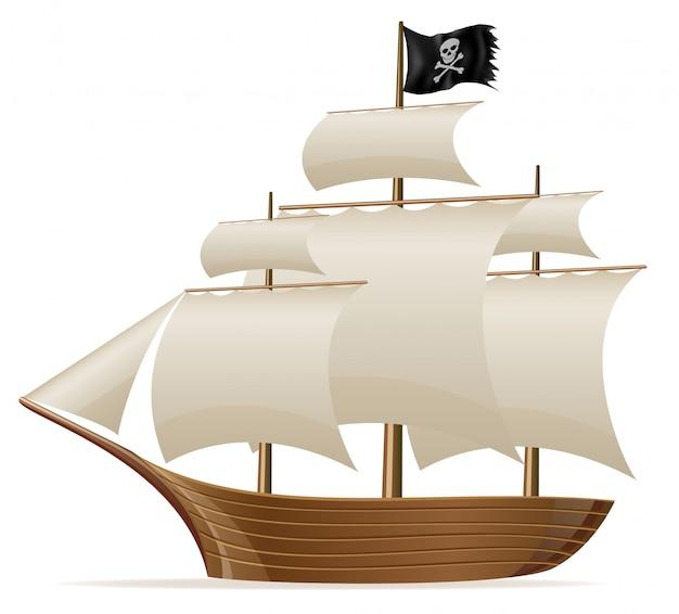 Piraat schip vectorillustratie Premium Vector