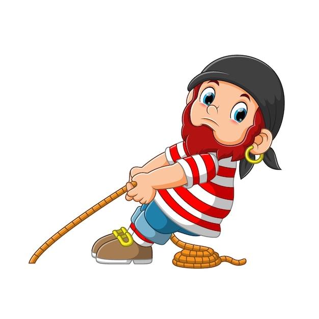 Piraat trekt een touw cartoon karakter illustratie Premium Vector