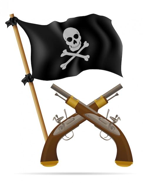 Piraat vlag en pistolen vectorillustratie Premium Vector