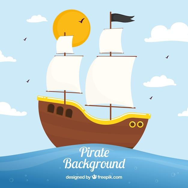 Piraat zeilboot achtergrond Gratis Vector