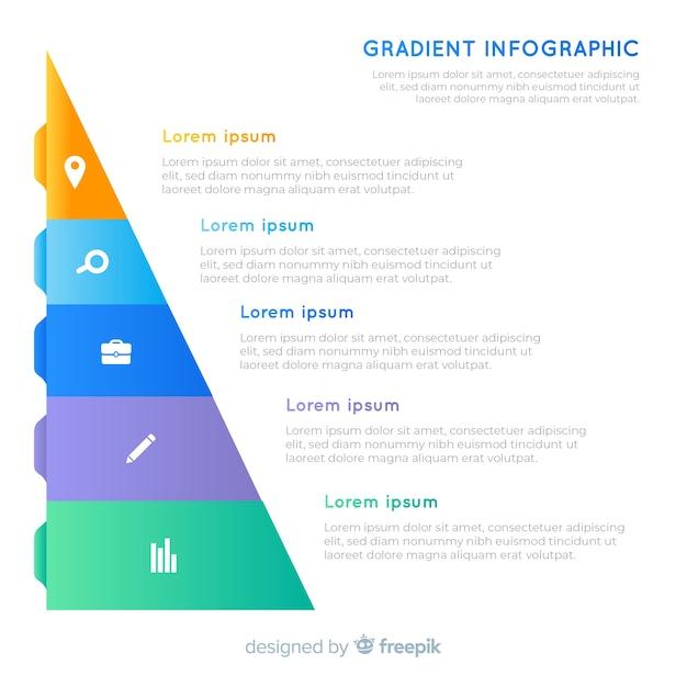 Piramidale kleurovergang infographic met tekst Gratis Vector