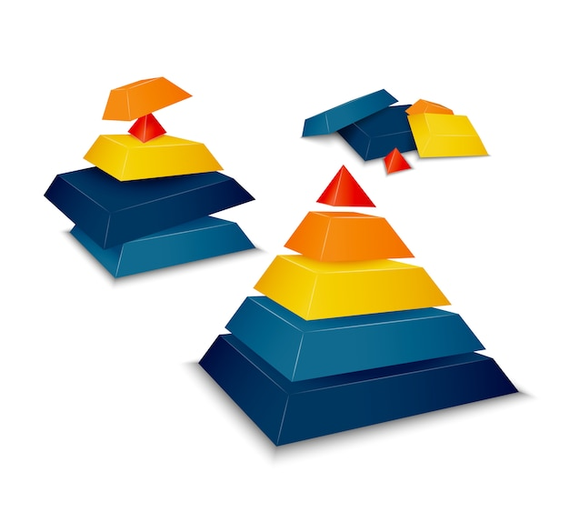 Piramide geassembleerd en gedemonteerd Gratis Vector