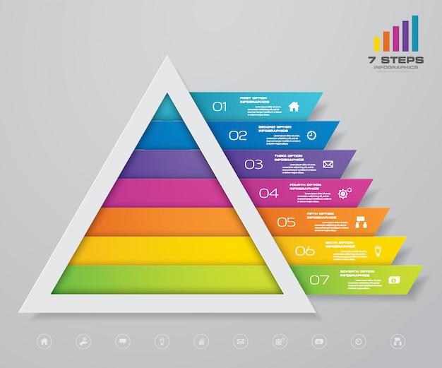 Piramide infographic met tekstsjabloon op elk niveau. Premium Vector