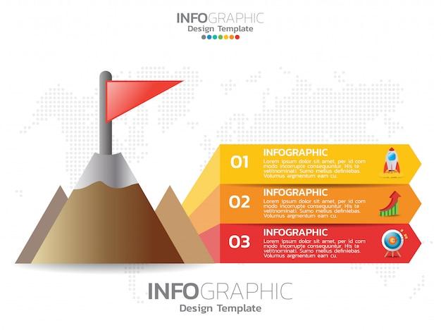 Piramide of driehoek met 3 stappenelementen. Premium Vector