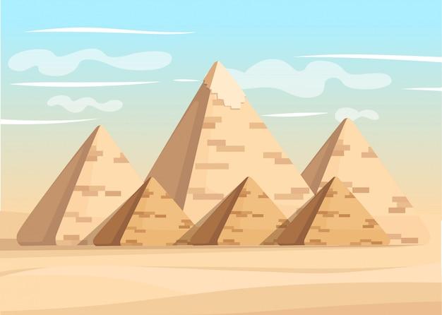 Piramide van gizeh complex egyptische piramides dagwonder van de wereld grote piramide van gizeh illustratie Premium Vector