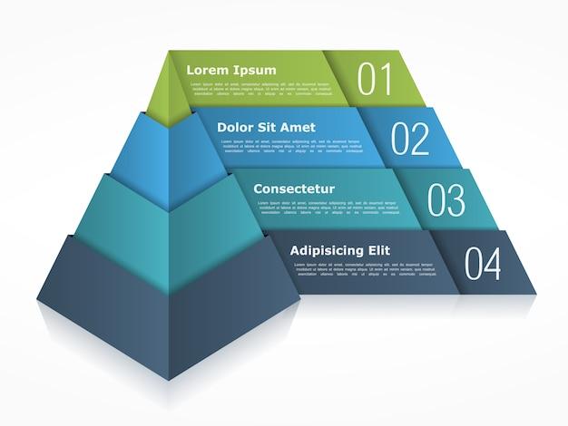 Piramidediagram met vier elementen Premium Vector