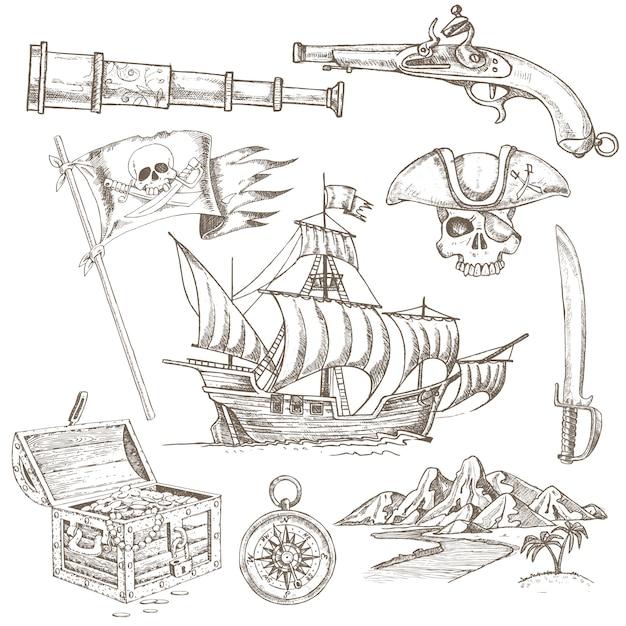 Pirate elements hand getrokken set Gratis Vector
