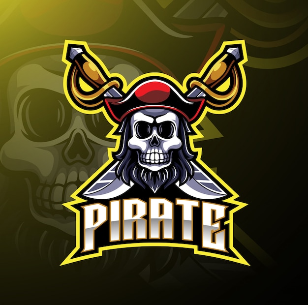Piraten mascotte gaming logo Premium Vector