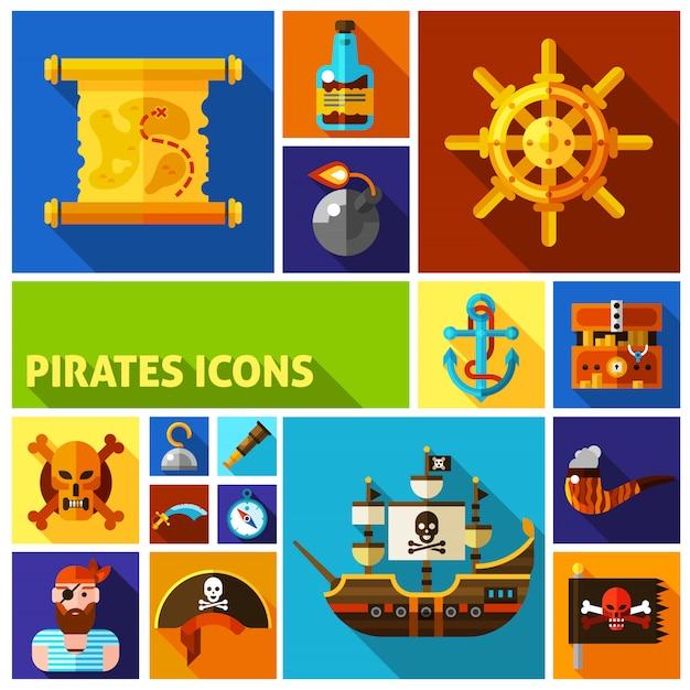 Piraten platte cartoon iconen Gratis Vector