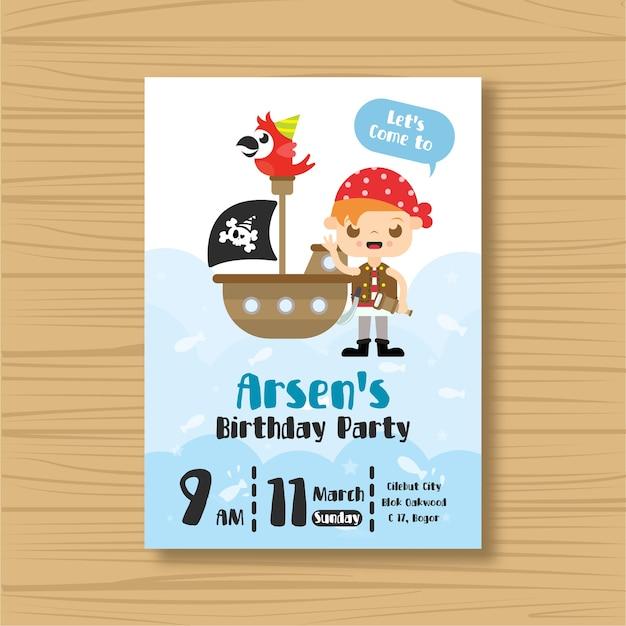 Piraten Verjaardag Uitnodigingskaart Vector Premium Download