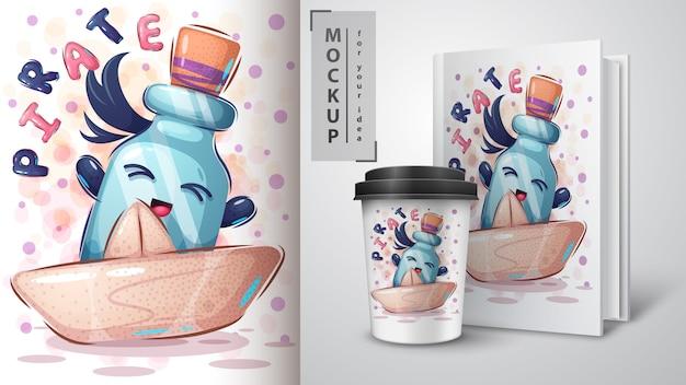 Piratenfles poster en merchandising Gratis Vector