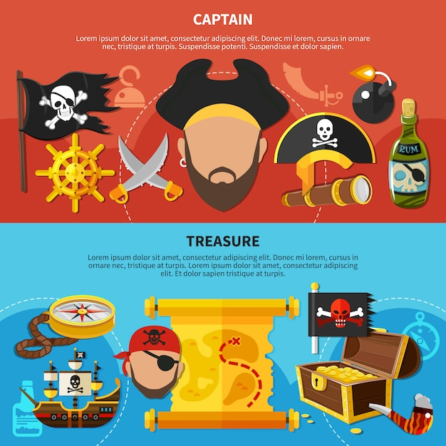 Piratenkapitein cartoon banners Gratis Vector