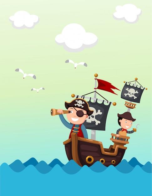 Piratenschip mooi landschap Premium Vector