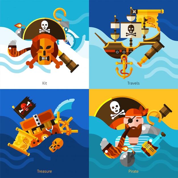 Pirates 2x2 design concept set Gratis Vector