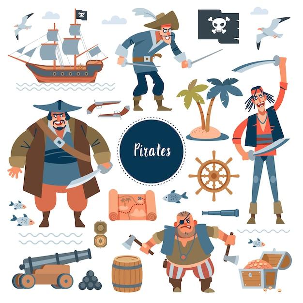Pirates. collectionadorable piraten, zeilschip, zeevis en schatkist, geïsoleerd op wit. kinderachtig in platte cartoon-stijl Premium Vector