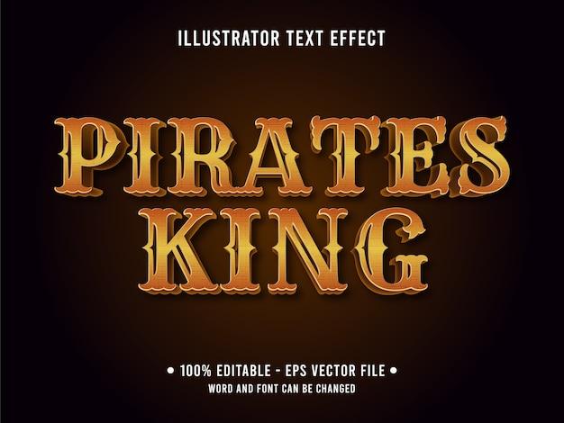 Pirates king bewerkbaar teksteffect Premium Vector