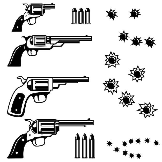 Pistolen illustratie op witte achtergrond. kogelgaten. illustraties Premium Vector